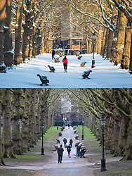 © Licensed to London News Pictures. 4/03/2018. London, UK. In this combined image Green Park was blocked with snow 28th Feb and today is showing more Spring like colours as the snow has melted. Large parts of the UK are recovering from a week of sub zero temperatures and heavy snowfall, following two severe cold fronts.. Photo credit: Rob Pinney/LNP