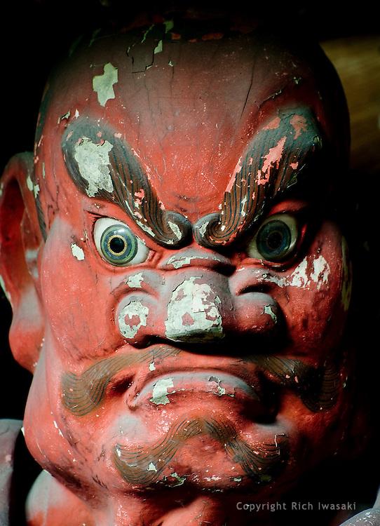 Close-up view of Nio-sama (guardian figure) at entrance to Sugimoto-dera (temple), Kamakura, Kanagawa Prefecture, Japan. Sugimoto-dera , established during the Nara period (8th century), is considered the oldest temple in Kamakura.