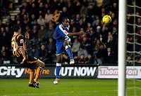 Photo: Jed Wee.<br />Hull City v Cardiff City. Coca Cola Championship.<br />03/12/2005.<br />Cardiff's Cameron Jerome (R) wildly skies their best chance of the match.