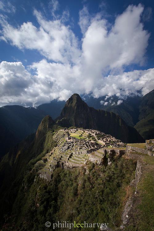 View of Machu Picchu, Cusco Region, Urubamba Province, Machupicchu District in Peru, South America