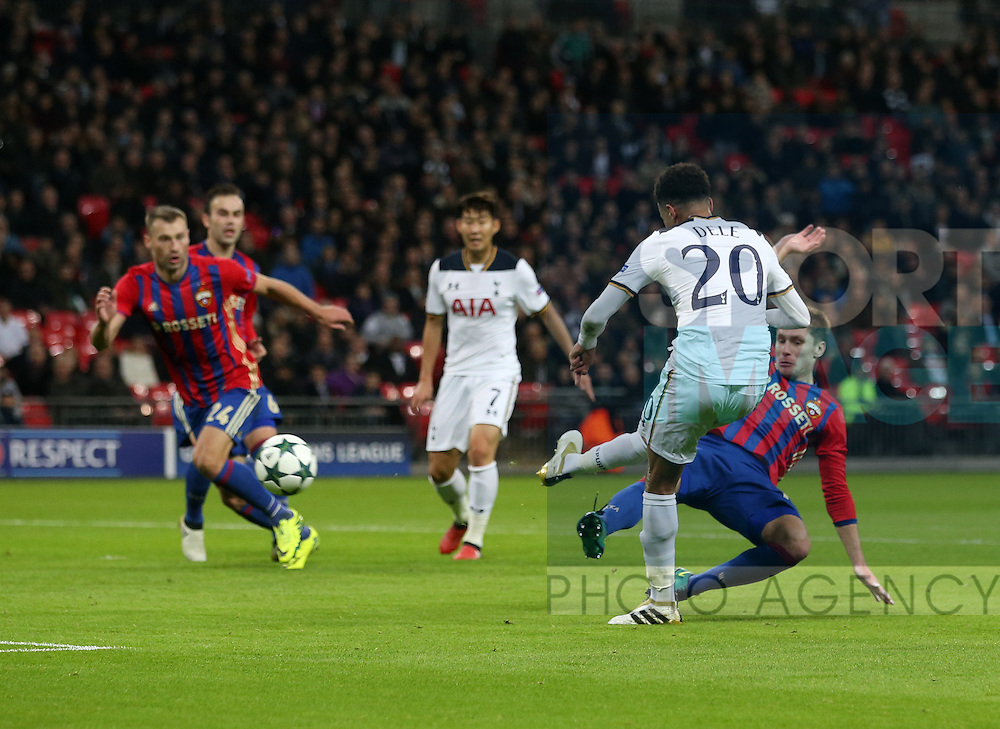 Tottenham's Dele Alli scoring his sides opening goal during the Champions League group match at Wembley Stadium, London. Picture date December 7th, 2016 Pic David Klein/Sportimage