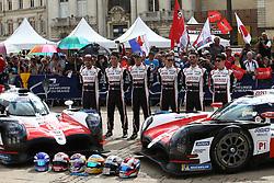June 11, 2018 - Le Mans, FRANCE - 8 TOYOTA GAZOO RACING (JPN) TOYOTA TS050 SEBASTIEN BUEMI (CHE) KAZUKI NAKAJIMA (JPN) FERNANDO ALONSO (SPA) #7 TOYOTA GAZOO RACING (JPN) TOYOTA TS050 MIKE CONWAY (GBR) KAMUI KOBAYASHI (JPN) JOSE MARIA LOPEZ  (Credit Image: © Panoramic via ZUMA Press)