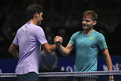 November 18, 2017 - London, England, United Kingdom - Belgium's David Goffin (R) shakes hands after beating Switzerland's Roger Federer (L) during their men's singles semi-final match on day seven of the ATP World Tour Finals tennis tournament at the O2 Arena in London on November 18, 2017. David Goffin won 2-6, 6-3, 6-4. (Credit Image: © Alberto Pezzali/NurPhoto via ZUMA Press)