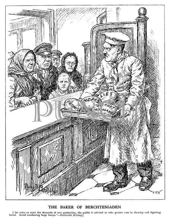 "The Baker of Berchtesgaden. [""In order to meet the demands of war production, the public is advised to take greater care in chewing and digesting bread. Avoid swallowing large lumps."" Koelnische Zeitung.] (Hitler as baker, serves up Promises, Hopes, Lies and Victory Propaganda to his hungry people queuing up at his bakery)"