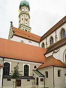 Low-angle view of the Basilica of St. Ulrich and St. Afra, Augsburg, Bavaria, Germany