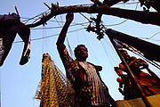 Puran Bhatt, a puppeteer, on his roof. Puran is an international star with a master class every year in France. Many foreign puppet students come to stay at his house to be taught by him. Shadipur Depot, New Delhi, India<br /> The Kathiputli Colony in the Shadipur Depot slum is home to hundreds of (originally Rajasthani) performers. The artistes who live here - from magicians, acrobats, musicians, dancers and puppeteers are often international renowed by always return to the Shadipur slum.