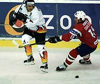 Icehockey. Qualification Olympic Games. Norway-Germany 8 january 2001. Norge-Tyskland, Jordal Amfi. 2001. Leonard Soccio, Germany and Ole Dahlstom, Norway