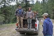 Scott (left) and Angie Denny with their hounds during a spring bear hunt in Idaho. With Brian Lynn from the Sportsmen's Alliance (right)