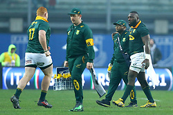 November 25, 2017 - Padova, Italy - Tendai Mtawarira of South Africa injured getting off replaced by Steven Kitshoff during the Rugby test match between Italy and South Africa at Plebiscito Stadium in Padova, Italy on November 25, 2017. (Credit Image: © Matteo Ciambelli/NurPhoto via ZUMA Press)