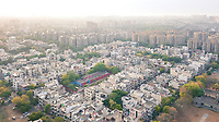 Aerial view of a residential block in sector 56 gurgaon on a sunny day in Delhi, national capital region of India.