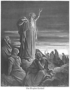 The Prophet Ezekiel Ezekiel 1:3 From the book 'Bible Gallery' Illustrated by Gustave Dore with Memoir of Dore and Descriptive Letter-press by Talbot W. Chambers D.D. Published by Cassell & Company Limited in London and simultaneously by Mame in Tours, France in 1866