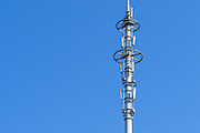 Stacked GSM and CDMA cellsite base station antenna array for the cellular telephone system on a pole tower - Nanjing, China <br />
