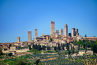 SAN GIMIGNANO, ITALY - CIRCA MAY 2015:  View of the medieval walled city of San Gimignano in Tuscany