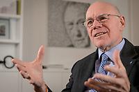 17 DEC 2019, BERLIN/GERMANY:<br /> Norbert Lammert, CDU, Vorsitzender der Konrad-Adenauer-Stiftung, KAS, waehrend einem Interview, in seinem Buero, Konrad-Adenauer-Stiftung<br /> IMAGE: 20191217-02-021<br /> KEYWORDS: Büro