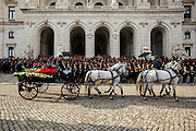 January 6, 2017. Lisbon - Portugal.<br /> One of the stops of the coffin was in front of Portuguese Parliament.<br /> Funeral ceremony of Mario Soares. Ex-president of the republic of Portugal.