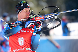 Quentin Fillon Maillet of France competes during the IBU World Championships Biathlon Men Pursuit competiton, on February 14, 2021 in Pokljuka, Slovenia. Photo by Vid Ponikvar / Sportida