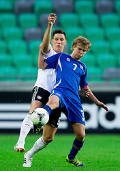 Niklas Suele of Germany vs Evan Ingi Johannesson of Iceland during the UEFA European Under-17 Championship Group A match between Iceland and Germany on May 7, 2012 in SRC Stozice, Ljubljana, Slovenia. Germany defeated Iceland 1-0. (Photo by Vid Ponikvar / Sportida.com)