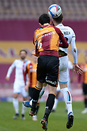 Bradford City Anthony O'Connor (6) Scunthorpe United Kevin van Veen (10) battles for possession during the EFL Sky Bet League 2 match between Bradford City and Scunthorpe United at the Utilita Energy Stadium, Bradford, England on 1 May 2021.