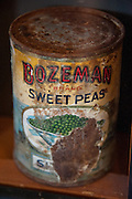 Old rusted can of Bozeman Brand Sweet Peas
