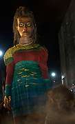 25/10/2015  Macnas parade on the streets of Galway.<br />  'The Shadow Lighter' featured the new Macnas character of Danu – a 15 ft high wild woman, the shadow lighter mistress of old stories, magic and medicine. Alongside her walked Danu's spirit animal, The Wolf of Danu, a beautiful, strong and fierce wolf, circling around Danu to protect her.  <br /> <br /> DUBLIN MONDAY NIGHT.<br /> Macnas will close the Bram Stoker Festival at twilight on Monday 26th October. In what is set to be another breath-taking citywide procession, Dublin's city streets will transform as the journey of Danu takes place, beginning in 3 city centre locations at 5.30pm with a final gathering in Wolfe Tone Square. This is a deadly adventure given life on the streets of Dublin.  Procession routes will be available to see and download from bramstokerfestival.com .Photo:Andrew Downes, xposure