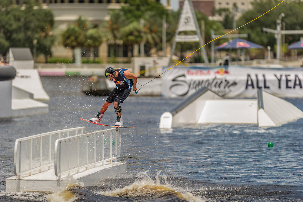 Danny Harf competes in the park competition during the Red Bull Wake Open in Tampa, Florida, USA on 6 July 2013.