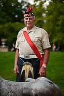 Old Westbury, New York, U.S. - August 23, 2014 - JIM GILCHRIST, a Drum Major in the Amityville American Legion Pipe Band, is wearing a Black Watch Tartan, at the 54th Annual Long Island Scottish Festival and Highland Games, co-hosted by L. I. Scottish Clan MacDuff, at Old Westbury Gardens.