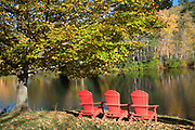 Muskoka chairs, also knowns as Adirondack chairs by Lake Rescue near Ludlow in Vermont, New England, USA
