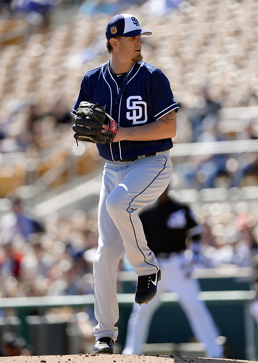 GLENDALE, ARIZONA - MARCH 06:  Jered Weaver #27 of the San Diego Padres pitches during a spring training game against the Chicago White Sox on March 6, 2017 at Camelback Ranch in Glendale Arizona.  (Photo by Ron Vesely)   Subject:   Jered Weaver