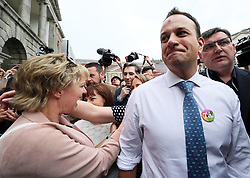 An Taoiseach Leo Varadkar and Senator Ivana Bacik (left) on arrival at Dublin Castle for the results of the referendum on the 8th Amendment of the Irish Constitution which prohibits abortions unless a mother's life is in danger. Picture date: Saturday May 26, 2018. See PA story IRISH Abortion. Photo credit should read: Brian Lawless/PA Wire