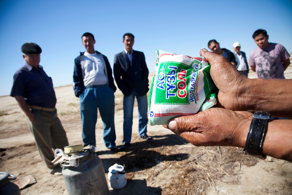 People use salt made from The Aral Sea as they cook. Crops in the region are destroyed by salt being deposited onto the land. Vast salt plains exposed by the shrinking Aral have produced dust storms, making regional winters colder and summers hotter.