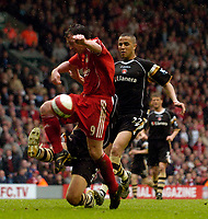 Photo: Jed Wee/Sportsbeat Images.<br /> Liverpool v Charlton Athletic. The Barclays Premiership. 13/05/2007.<br /> <br /> Liverpool's Robbie Fowler is robbed by the outstretched foot of Charlton's Luke Young in his farewell match at Anfield.
