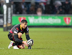 Dragons' Gavin Henson lines up a kick at goal<br /> <br /> Photographer Simon King/Replay Images<br /> <br /> Guinness Pro14 Round 11 - Dragons v Cardiff Blues - Tuesday 26th December 2017 - Rodney Parade - Newport<br /> <br /> World Copyright © 2017 Replay Images. All rights reserved. info@replayimages.co.uk - www.replayimages.co.uk