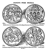 """Punch's Prize Medals. Medal struck in commemoration of the signal success of the real Blockhead System. Commemorating the decision in re Mud-Salad Market's Rates and Tolls. """"Dooky pays for all!"""""""