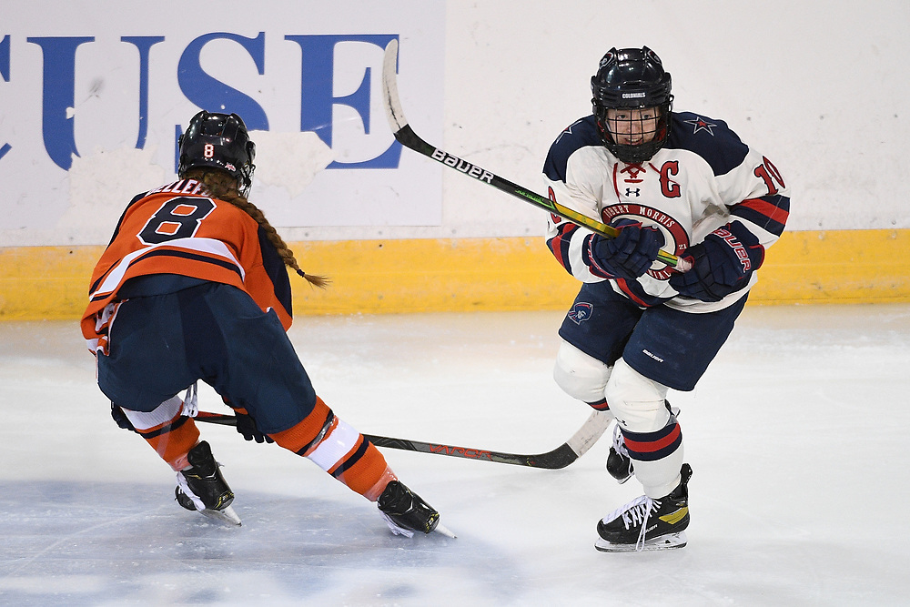 ERIE, PA - MARCH 06: Lexi Templeman #10 of the Robert Morris Colonials skates in the first period during the CHA Tournament Championship game against the Syracuse Orange at the Erie Insurance Arena on March 6, 2021 in Erie, Pennsylvania. (Photo by Justin Berl/Robert Morris Athletics)