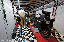 Teams spend their nights making needed repairs during the Motorcycle Cannonball Race of the Century. Stage-2 from York, PA to Morgantown, WV. USA. Sunday September 11, 2016. Photography ©2016 Michael Lichter.
