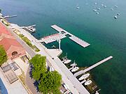 Aerial photograph of the Wisconsin Union and Lake Mendota, University of Wisconsin-Madison, Madison, Wisconsin, USA.