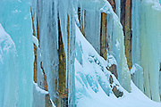 Ice from frozen waterfall on side of rock face<br /> Baysville<br /> Ontario<br /> Canada