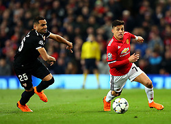 Alexis Sanchez of Manchester United goes past Gabriel Mercado of Sevilla - Mandatory by-line: Robbie Stephenson/JMP - 13/03/2018 - FOOTBALL - Old Trafford - Manchester, England - Manchester United v Sevilla - UEFA Champions League Round of 16 2nd Leg