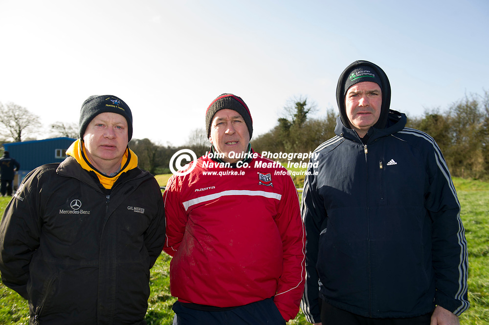 16-02-20. St. Brigid's v Carnaross - Tailteann Cup Semi-Final at Ballinacree.<br /> Carnaross Selectors from left, Pat Connell, Benny Reddy (Manager) and Alan Gillick.<br /> Photo: John Quirke / www.quirke.ie<br /> ©John Quirke Photography, Unit 17, Blackcastle Shopping Cte. Navan. Co. Meath. 046-9079044 / 087-2579454.