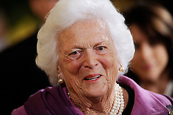 Former First Lady Barbara Bush attends the 2010 Medal of Freedom in a ceremony of the East Room  February 15, 2011  at the White House in Washington, DC. <br /> Photo by Olivier Douliery/ABACAPRESS.COM  | 263823_014 Washington Etats-Unis United States
