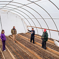 111913       Cable Hoover<br /> <br /> Work in Beauty president Sidney Null, left,  and outreach coordinator John Philpott get a tour of the greenhouse from gardener Vernon Garcia and Hope Garden manager Kenworth Jones Tuesday at the Jim Harlin Community Pantry in Gallup.