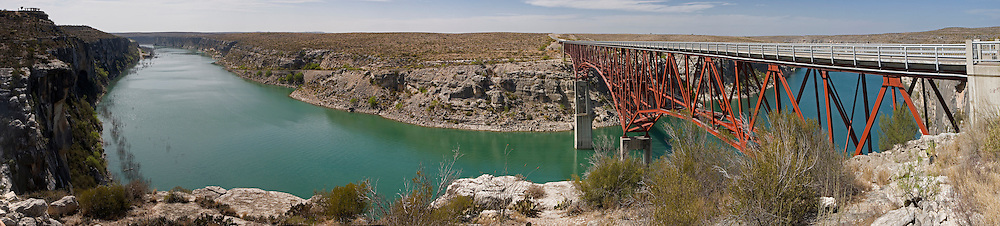 Rt. 90 Bridge panorama of the Pecos River as it reaches the Rio Grande between Comstock and Langtry, Texas.