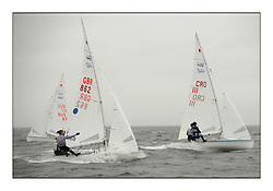 470 Class European Championships Largs - Day 2.Wet and Windy Racing in grey conditions on the Clyde..GBR0, Sophie WEGUELIN, Sophie AINSWORTH, Royal Lymington Yacht Club ...