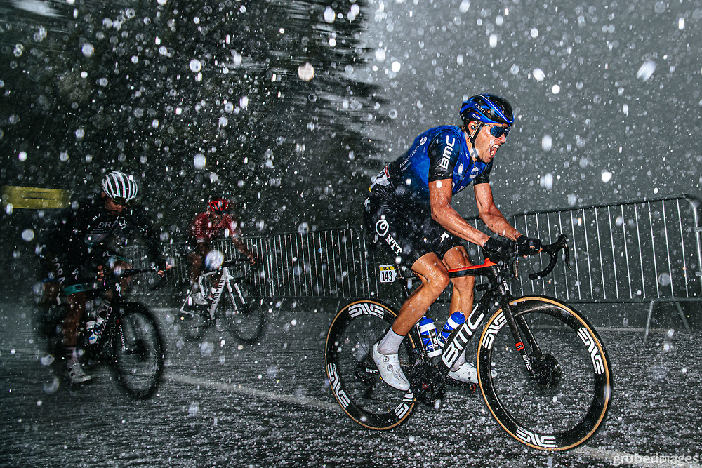 Edvald Boasson Hagen in an unbelievable hail storm with 300m to go in the second stage of the 2020 Dauphine on the Col de Porte.