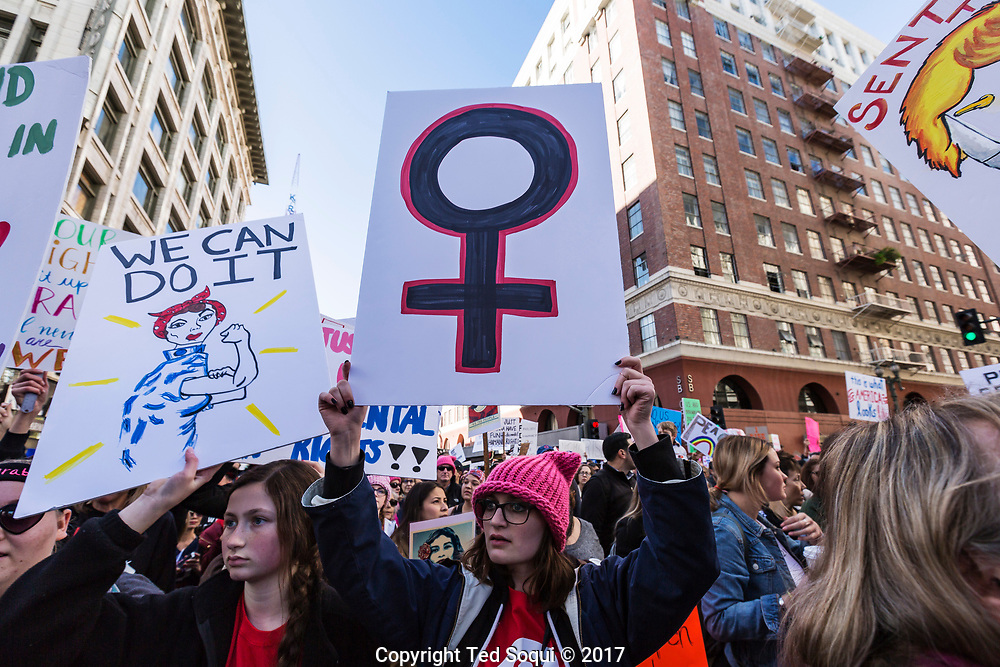 The Women's March in downtown Los Angeles. Over 750 thousand people marched in the streets of LA to protest against President Donald Trump.