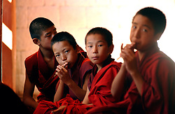 First year monks learn to play religious music on flutes and drums before they have to give musical exams to the Lama of Punakh Dzong October 11, 2005 in Punakha, central Bhutan. Before 1995, Punakha was the capital of Bhutan. Bhutan is a Kingdom of 753,000 people and is about 80 percent Buddhist, 15 percent Hindu.