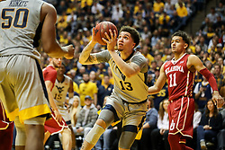 Jan 6, 2018; Morgantown, WV, USA; West Virginia Mountaineers forward Teddy Allen (13) drives down the baseline during the second half against the Oklahoma Sooners at WVU Coliseum. Mandatory Credit: Ben Queen-USA TODAY Sports