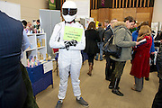 The STIG representing Frank Byrne's Autobody repairs at the SCCUL awards at the Bailey Allen in NUIG. Photo:Andrew Downes