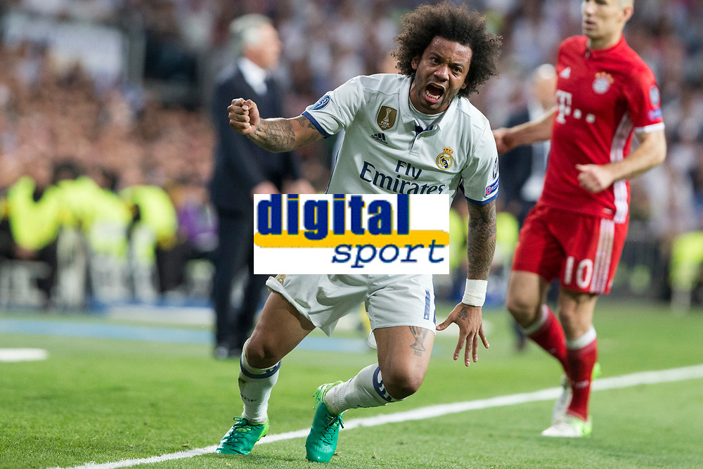 Marcelo Vieira of Real Madrid reacts during the match of Champions League between Real Madrid and FC Bayern Munchen at Santiago Bernabeu Stadium  in Madrid, Spain. April 18, 2017. (ALTERPHOTOS)