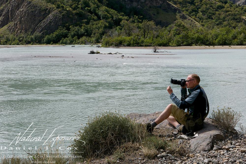 Dave takes in the scene along the De las Vueltas river north of El Chalten, Patagonia, Argentina
